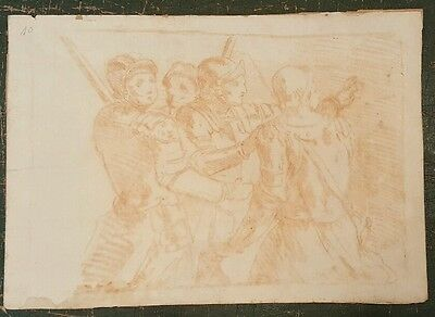 17th.Century old master red chalk drawing soldiers Spanish French 1700s