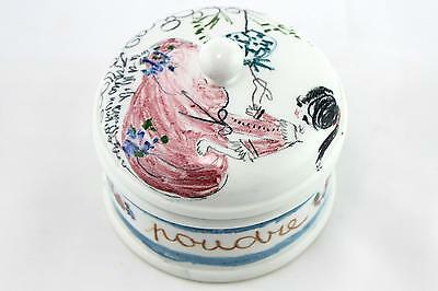 A 1950's 60's Italian studio pottery powder jar. Flower mark. Hand decorated