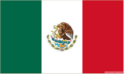 "MEXICO 18"" x 12"" FLOOR STANDING FLAG & WOODEN BASE MEXICAN"