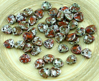 50pcs Red Silver Marble Picasso Czech Rose Petal Flower Flat Glass Pressed Be...