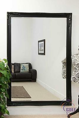 Large Black Antique Style Wall Mirror 6ft7 x 4ft7 (200cm x 140cm)
