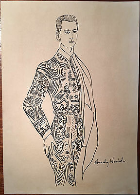 Andy Warhol Original Pen Ink Hand Signed Drawing Matador