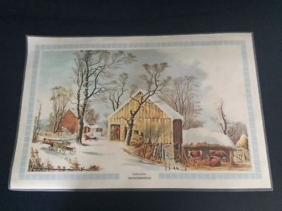 Vintage Currier and Ives Winter Scenes Placemat Set of 4