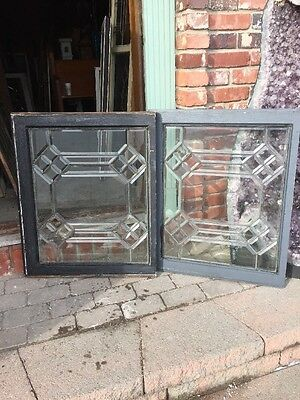 Sg 1005 Two Available Price Separate Antique Geometric Beveled Glass Window