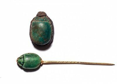 Lot of 2 Ancient EGYPTIAN SCARAB JEWELRY Late Period; c. 700-30 BC
