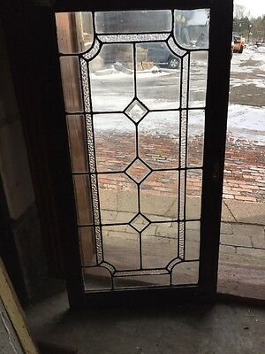 Sg 1008 Antique Textured Glass Leaded Glass Three Beveled Transom