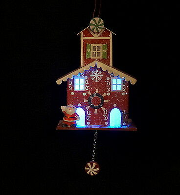 Lighted North Pole Santa House Christmas Ornament - NWT