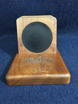 Wooden Coaster Set With Stand Duck Design Wilderness Woodcraft Made In Canada