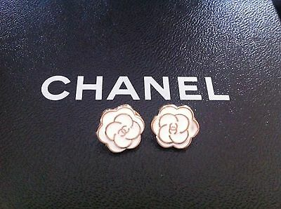 Gorgeous Chanel set 2 white gold camellia 12mm buttons