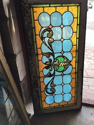 "Sg 1010 Antique Stain Glass Transom Window Curly Cue 21.25"" X 45"""