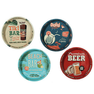 Novelty Beer Alcohol Bar Tray - Metal Round Tray Cocktail  Beach Tiki Bar 33cm