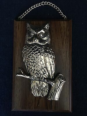 Vintage Wall Hanging Owl Sitting On Branch 3D Plaque