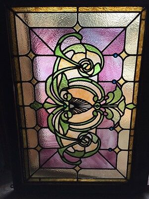 Sg 1012 Antique Stained Glass Window With Tiny Faceted Jewels Pastel