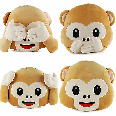 New Emoji Monkey Pillow Cushion Plush Doll Toy Home Sofa Bed Living Room Decor