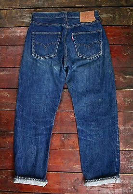 VTG 70s LEVI'S 501 INDIGO DENIM REDLINE JEANS SINGLE STITCH NO BIG E USA W28 L27