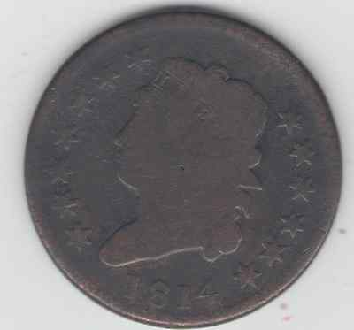Us Large Cents   1814  Decent