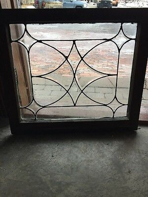 Sg 1019 Antique Four Point Beveled Center Leaded Window 25 X 28.5""