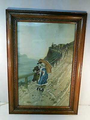 Vtg BEAUTIFUL Wood Frame Carved Flowers Colonial Lovers Mountain Rd print