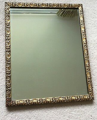 Vintage retro art nouveau style gilded wood framed rectangular wall mirror 41cm