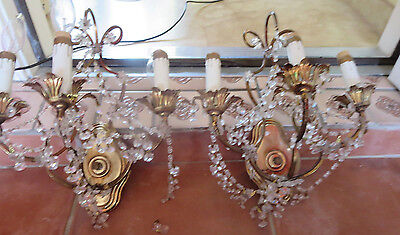 PAIR OF THREE ARMS ITALIAN BRONZE AND CRYSTAL PRISM antique sconces LAMPS