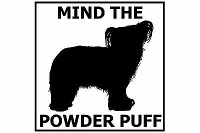 Mind the Chinese Crested Powder Puff - Gate/Door Ceramic Tile Sign