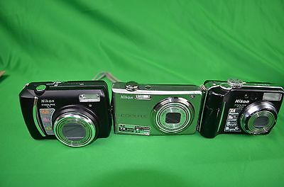Mixed Lot of Nikon Coolpix Digital Cameras FOR PARTS (3 cameras)