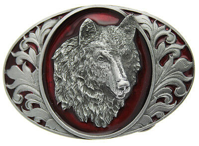 Wolf Head  Belt Buckle In a Gift Box + Display Stand.
