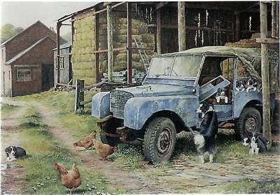 Land Rover Series 1 & Collie Dogs--Greetings Print Card