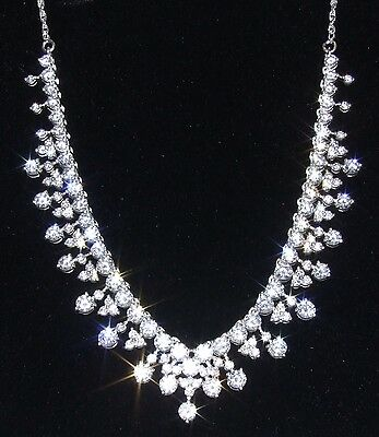 Sterling Silver 18 Inch Cz Cascade Necklace Ideal For Weddings Proms-New In Box