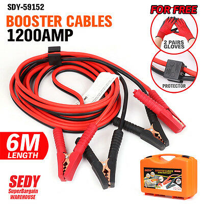 Heavy Duty 1200AMP Jumper Leads 6M Long Surge Protected Jump Car Booster Cables