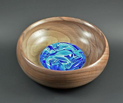 Black Walnut and Blue Kirinite Bowl