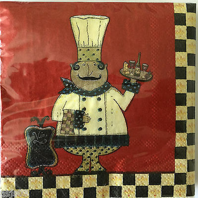 Set of 30 Party Paper Napkins Beverage Cocktail French Fat Cook Chief Red