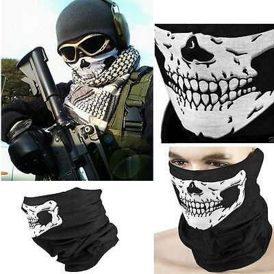 Skull Head Half Face Scarf Face UV Shield Mask Headwear Biker Neck Tube Wear