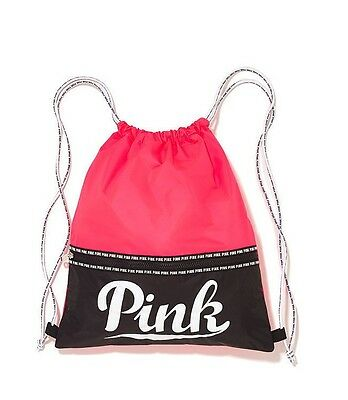 6c61f9467c39 Victoria s Secret Pink NEON RED Drawstring Backpack Bag Tote Duffle Gym  Logo NEW