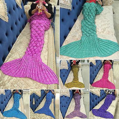 Kids/Adult Mermaid Tail Crocheted Fish Scales Cocoon Warm Knit Lapghan Blanket
