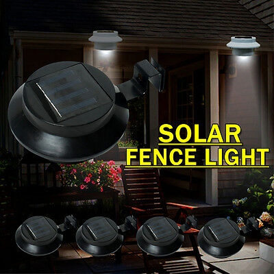 3 LED Solar Powered Gutter Fence Lights Outdoor Garden Yard Wall Pathway Lamp x5