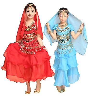AU Bollywood Girls Kid Belly Dance Costume Set Outfit Top +Skirt Halloween Dress