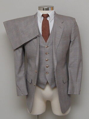Vintage Men 38R Modern Mens Shop 3 Piece Brown and Blue Glen Check Wool Suit