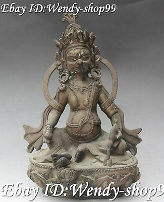 """12"""" Collect Chinese Old Bronze Yellow Jambhala Wealth God Hold Mouse Statue"""
