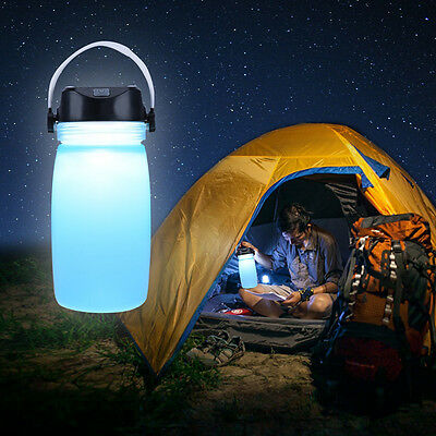 Solar Waterproof Rechargeable LED Light Bottle - Camping Lantern -USB Power Bank