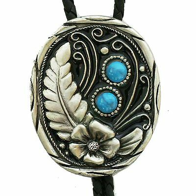 Western String Bolo Tie Flower Feather Artificial Stone New