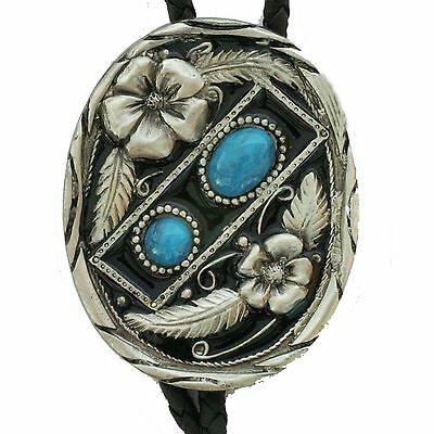 Western String Bolo Tie Flower blue Artificial stone New