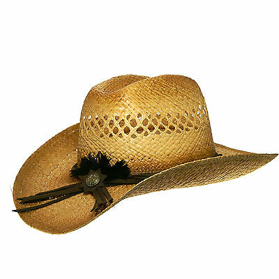 Western hat Hat Straw Hat beige malleable with Hatband Size 56cm unisex new