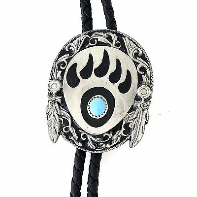 Western String Bolo Tie Bolo Bear claw with feathers Country New