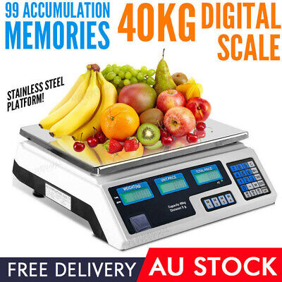 Kitchen Digital Scale Business Shop Electronic Market Weight Scales Food 40kg AU