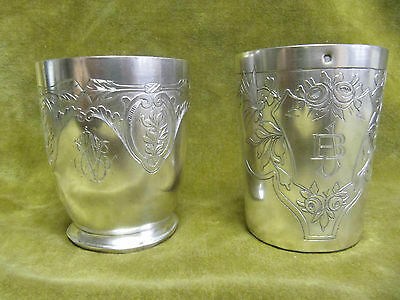 1925 french sterling 950 silver minerve 2 beakers art deco roses, butterflies, .