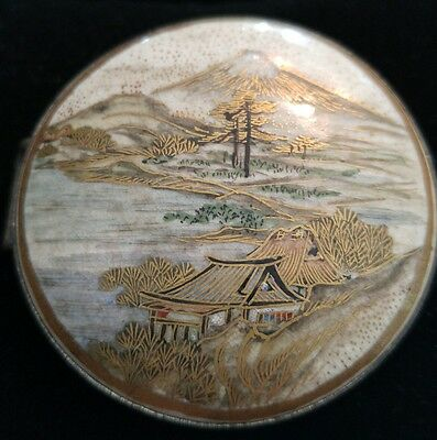 Vintage 1868 to 1912 SATSUMA Japanese Porcelain Belt Buckle Meiji Period Mt Fuji