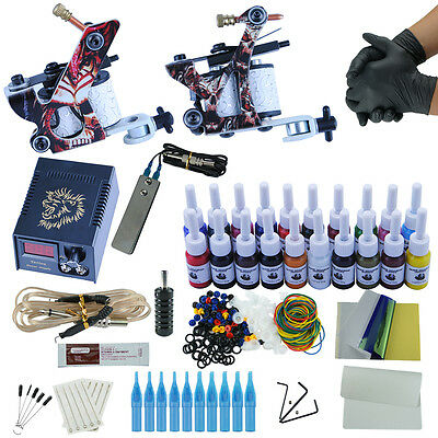 Complete Tattoo Kit 2 Machine Gun Power Supply 20 Color Ink Set Needles Tips Kit
