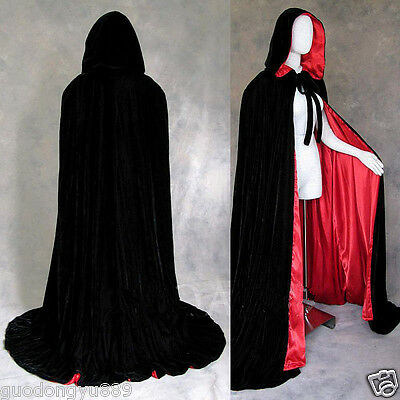 Velvet Hooded Cloak Wicca Robe Renaissance Medieval Witchcraft Larp Cape Unisex