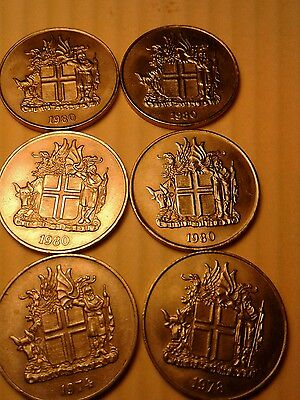 Iceland 10 Kronur 1980s  lot of 6  coins